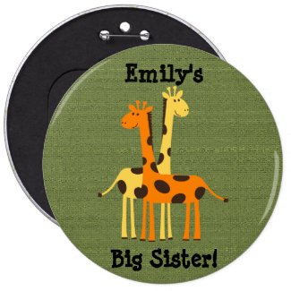 Cute Giraffe Big Sister Button