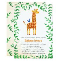 Cute Giraffe & Bird Baby Shower Invitations