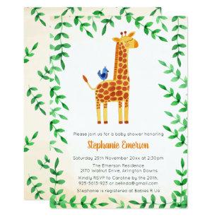 Giraffe baby shower invitations zazzle cute giraffe bird baby shower invitations filmwisefo