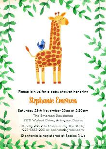 Bird baby shower invitations zazzle cute giraffe bird baby shower invitations filmwisefo