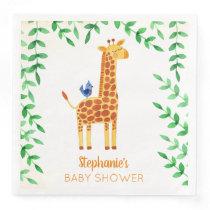 Cute Giraffe & Bird Baby Shower Personalized Paper Dinner Napkin