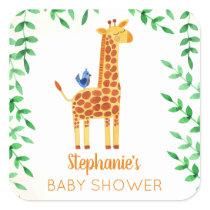 Cute Giraffe & Bird Baby Shower Square Sticker