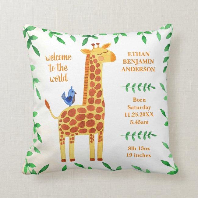 Cute Giraffe & Bird Baby Stats Throw Pillow