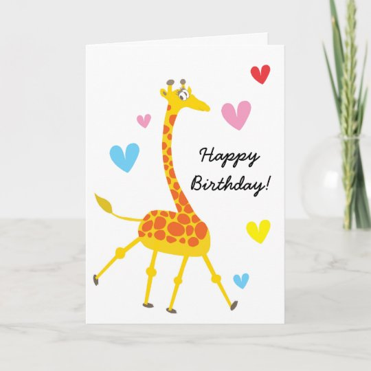 Cute Giraffe Birthday Card Zazzle