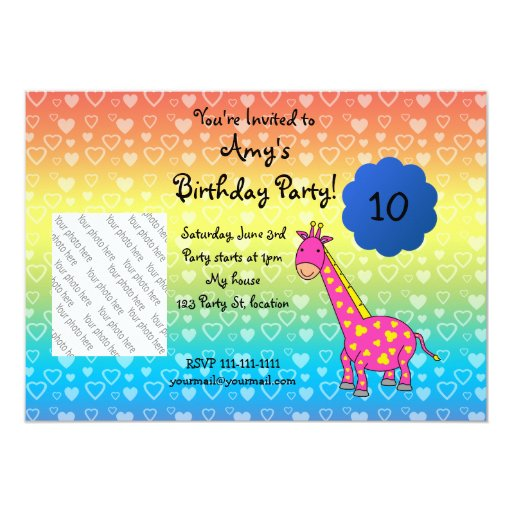 Cute giraffe birthday invitation
