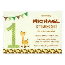 Cute Giraffe Birthday Party Invitation