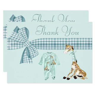 Cute Giraffe Blue Boy Baby Shower Thank You Card