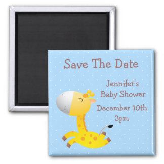 Cute Giraffe Blue Save The Date Baby Shower 2 Inch Square Magnet