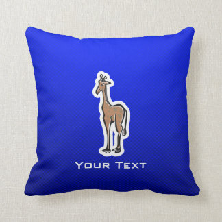 Cute Giraffe; Blue Throw Pillow