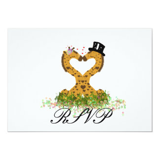 Cute Giraffe Bride and Groom RSVP Reply Card 13 Cm X 18 Cm Invitation Card