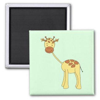 Cute Giraffe. Cartoon. 2 Inch Square Magnet