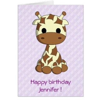 Cute giraffe cartoon customizable kids birthday card