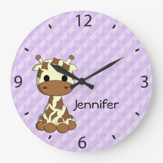 Cute giraffe cartoon name large nursery wall clock