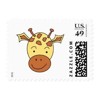 Cute Giraffe Cartoon. Stamp