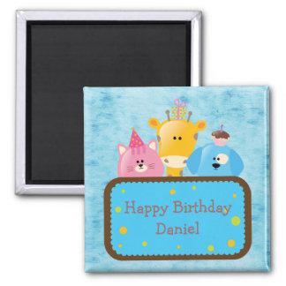 Cute Giraffe Cat & Dog Personalized Happy Birthday 2 Inch Square Magnet
