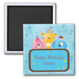 Cute Giraffe Cat & Dog Personalized Happy Birthday 2 Inch Square Magnet