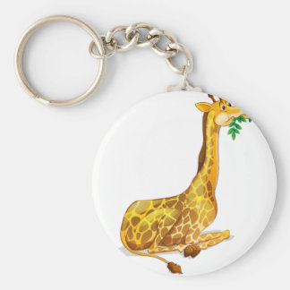 Cute giraffe chewing on leaves keychain