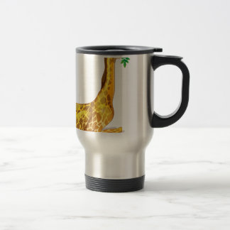 Cute giraffe chewing on leaves travel mug