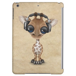 Cute Giraffe Cub Dj Wearing Headphones Cover For iPad Air
