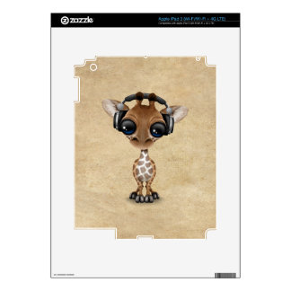 Cute Giraffe Cub Dj Wearing Headphones Decals For iPad 3