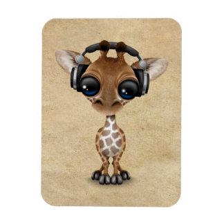 Cute Giraffe Cub Dj Wearing Headphones Magnet