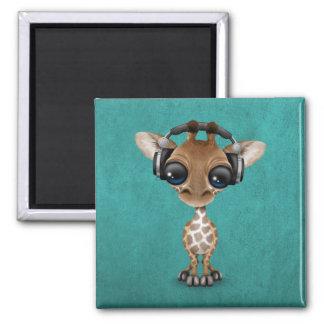 Cute Giraffe Cub Dj Wearing Headphones on Blue Magnet