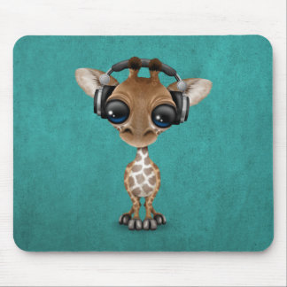 Cute Giraffe Cub Dj Wearing Headphones on Blue Mouse Pad