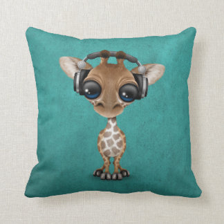 Cute Giraffe Cub Dj Wearing Headphones on Blue Throw Pillow
