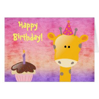 Cute Giraffe & Cupcake Happy Birthday Card