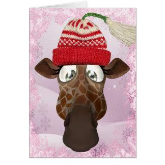 Cute Giraffe Cupcake inside Christmas Card
