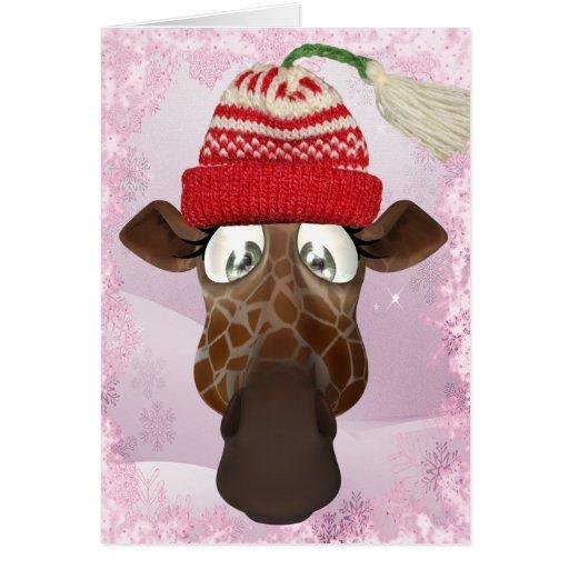 Cute Giraffe & Cupcake (inside) Christmas Card