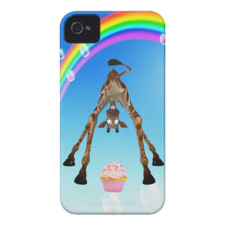 Cute Giraffe, Cupcake & Rainbow iPhone 4 Case