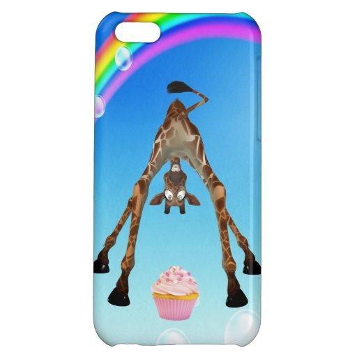 Cute Giraffe, Cupcake & Rainbow Case For iPhone 5C