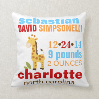 Cute Giraffe Custom Birth Announcement - Blue Throw Pillow