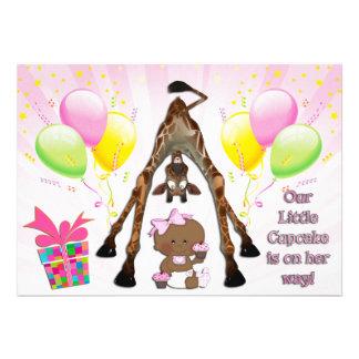 Cute Giraffe Ethnic Baby Girl Cupcakes Baby Shower Invitation