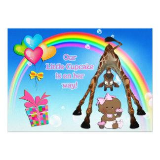 Cute Giraffe Ethnic Baby Girl Cupcakes Baby Shower Personalized Invitations