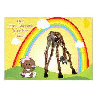 Cute Giraffe Ethnic Baby Girl Cupcakes Baby Shower Custom Invites