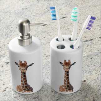Cute Giraffe Face Bathroom Set
