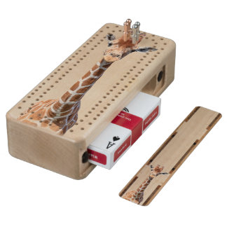 Cute giraffe face cribbage board