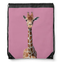 Cute giraffe face drawstring bag