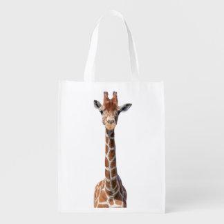 Cute giraffe face grocery bag