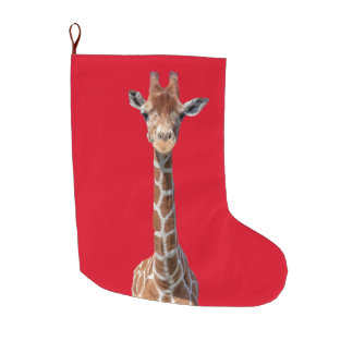 Cute giraffe face large christmas stocking