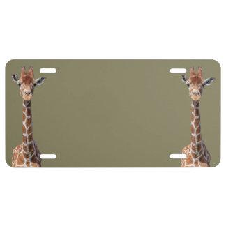 Cute giraffe face license plate