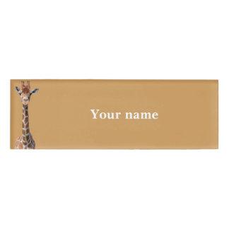 Cute giraffe face name tag