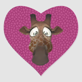 Cute Giraffe Face Pink Animal Fur Pattern Heart Sticker