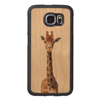 Cute giraffe face wood phone case