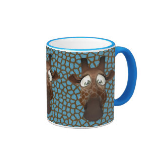 Cute Giraffe Faces Blue Animal Fur Pattern Mug