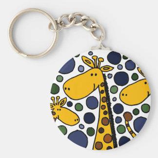 Cute Giraffe Family Art Abstract Keychain