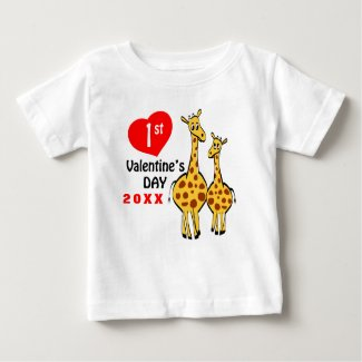 Cute Giraffe First Valentines Day with Year Baby T-Shirt
