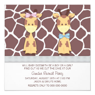 Cute Giraffe Gender Reveal Party Personalized Invitations